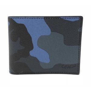 Coach Men's 3 In 1 Camo Blue Dusk Multi ID Wallet